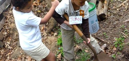 Kids gardening together