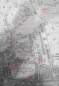 Boundary Stones (marked as A.D. with a broad arrow between) surrounding St. Vincent on a map of 1910