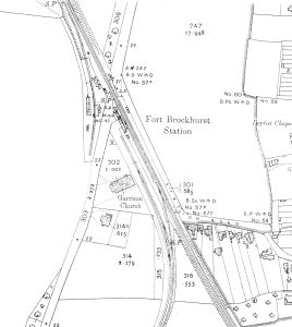 Brockhurst Station with the church nearby on a plan of 1910