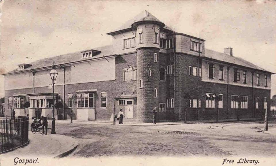 Gosport Free Library in an old postcard