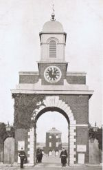 The Entrance and clock in an old photograph