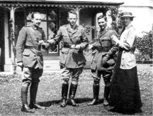 Smith Barry with his wife Kitty and with Lieutenants Moore (left) and Parker (right) at Alverbank, Stokes Bay Gosport. Alverbank was used by Smith-Barry as an extension to the Officers' Mess of Grange airfield. He conducted his experiments on the Gosport Tube at the house.