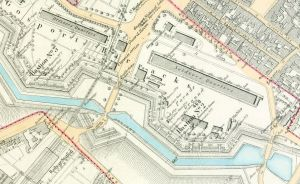 Gosport ramparts with the two gates: Plan circa 1890