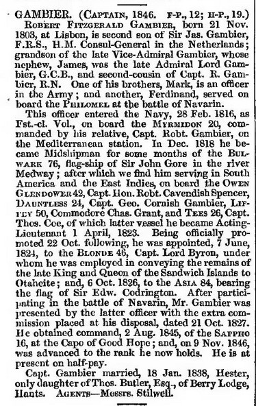 Captain Gambier a Naval Biography