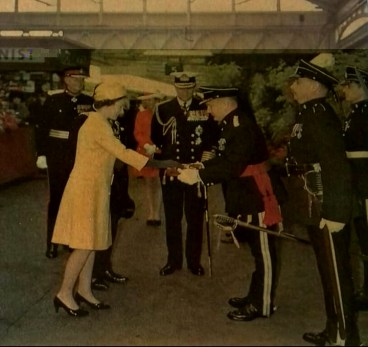 1969 Lt Col DET Charles-Jones presenting the Keys to the Queen with Prince Philip and Princess Anne. Photo: kindly supplied by Anna Charles-Jones