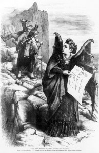 "More details ""Get thee behind me, (Mrs.) Satan!"" 1872 caricature by Thomas Nast: Wife, carrying heavy burden of children and drunk husband, admonishing (Mrs.) Satan (Victoria Woodhull), ""I'd rather travel the hardest path of matrimony than follow your footsteps."" Mrs. Satan's sign reads, ""Be saved by free love."""