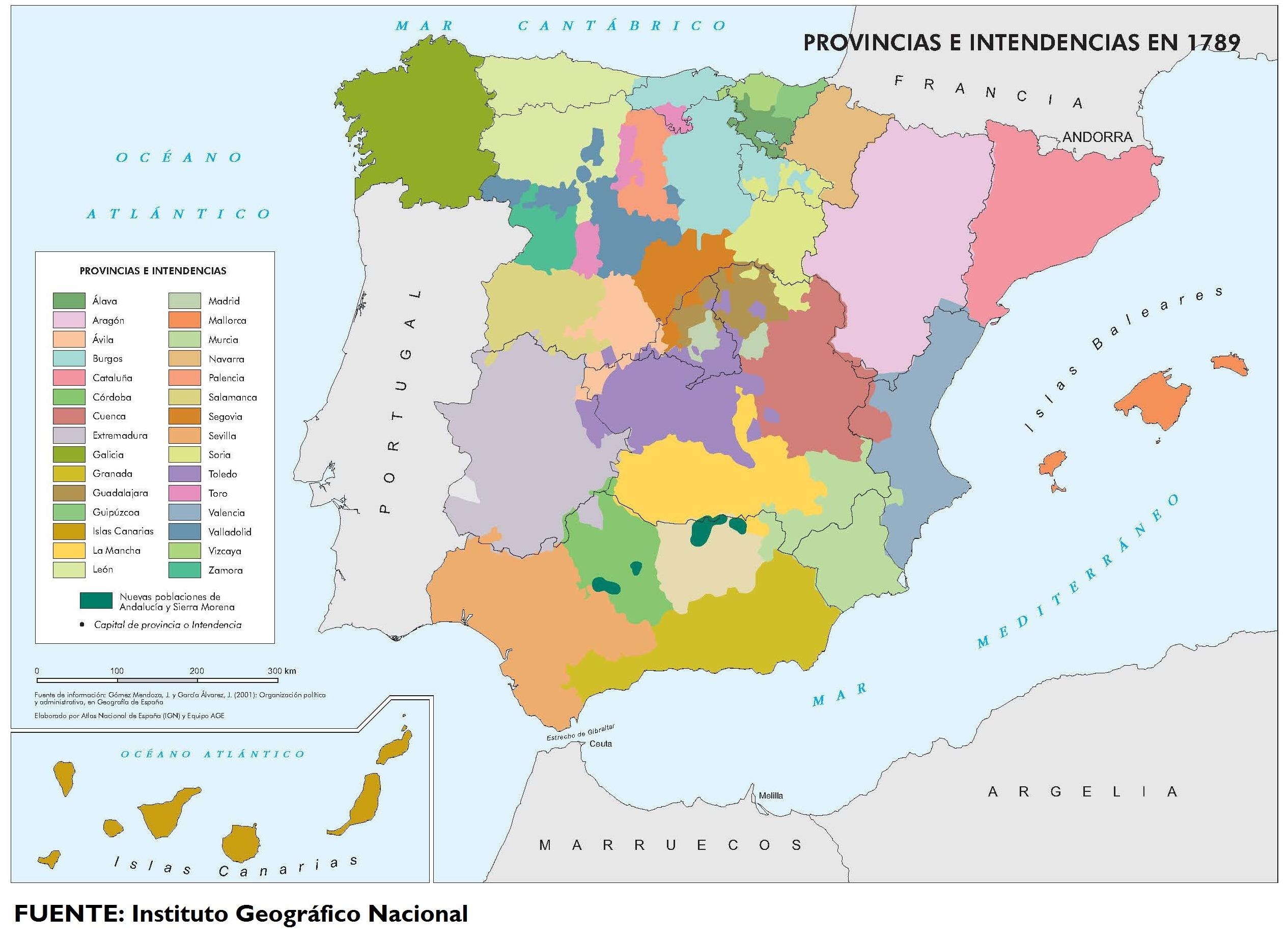 Provincias e intendencias de España en 1789
