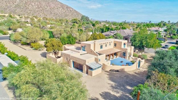 drone aerial photo,phoenix,historical,arcadia,neighborhood,pueblo revival,historic,adobe construction,real estate