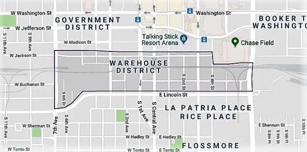 historic,phoenix,az,warehouse district,downtown,map,neighborhood,industrial,loft style,midtown,central,commercial