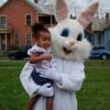 A photo opportunity with the Easter Bunny at the Egg Hunt.
