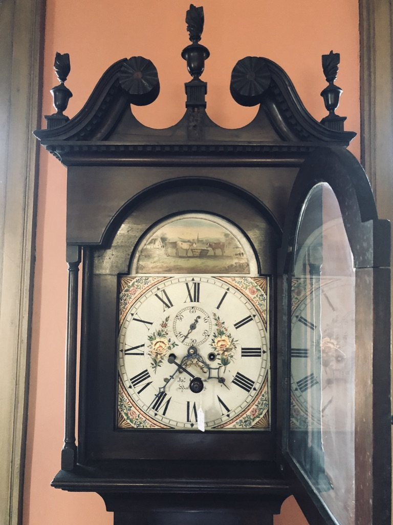 Grandfather Clock Face with Hood Door Open