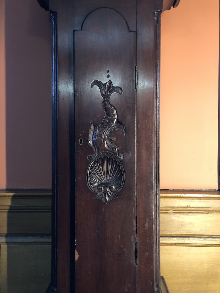 Carved Fish Detail on Antique Grandfather Clock Case