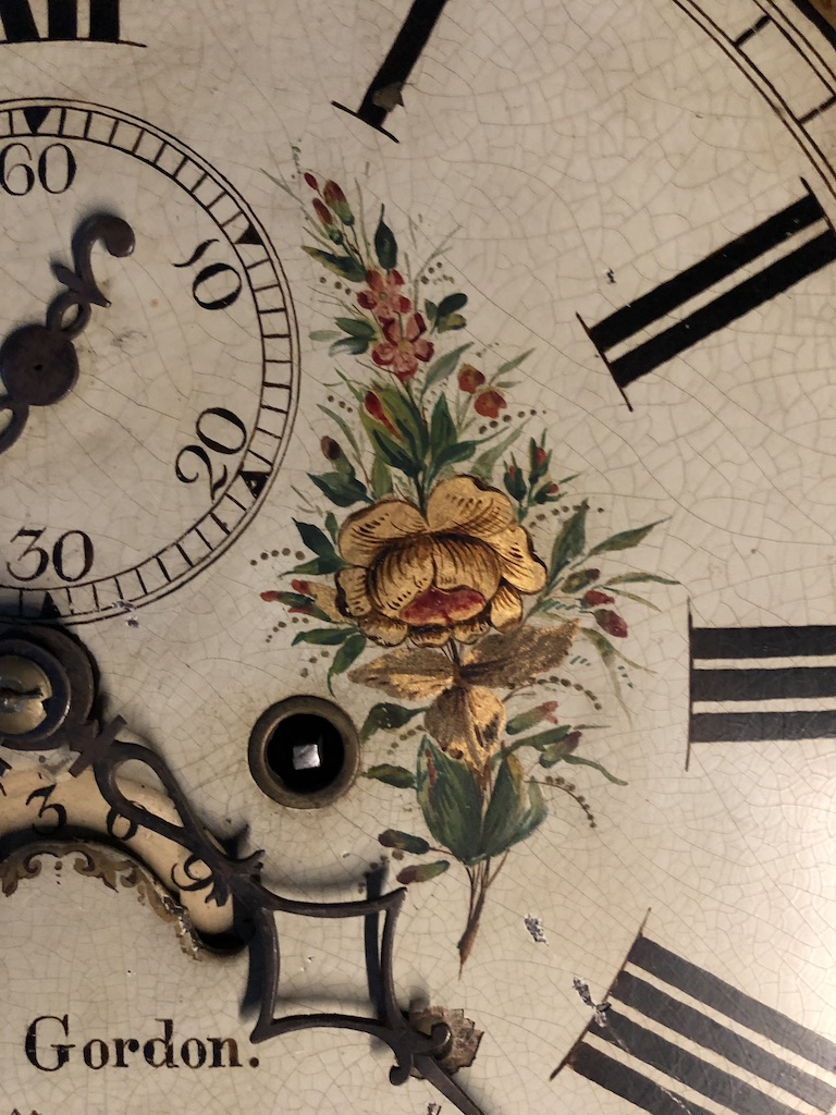 Gold Leaf Flower Detail on Grandfather Clock Face
