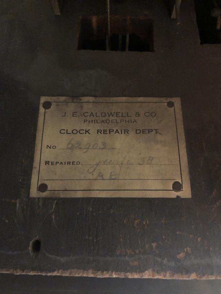 J.E. Caldwell & Co Clock Repair Note Receipt inside Antique Grandfather Clock