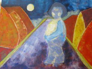 maleri med flygtningepige af Pia Sigmund