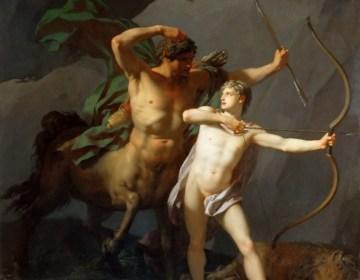 Achilles wordt door de centaur Chiron - Jean-Baptiste Regnault, 1782, Louvre, Parijs, Frankrijk