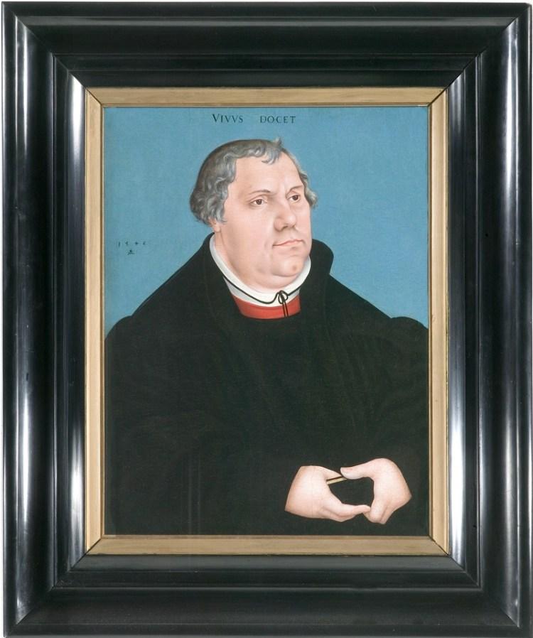 Een portret van Maarten Luther door Lucas Cranach uit 1546