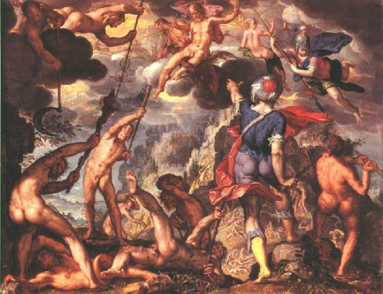 Gevecht tussen de Goden en Titanen - Joachim Wtewael