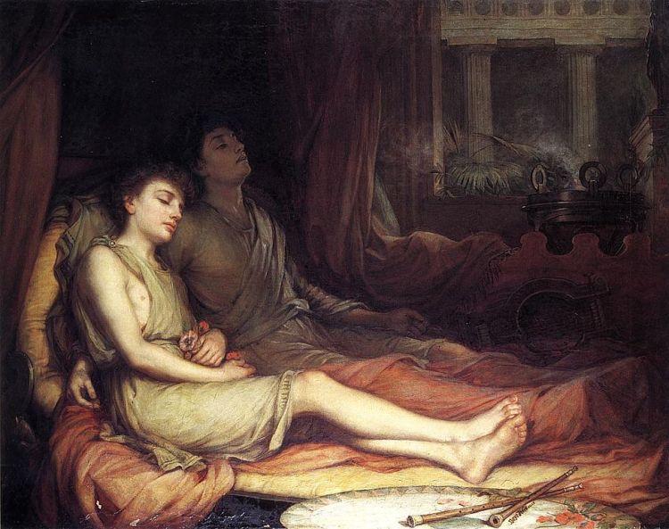 Hypnos en Thanatus - Slaap en zijn halfbroer dood - John Williams Waterhouse