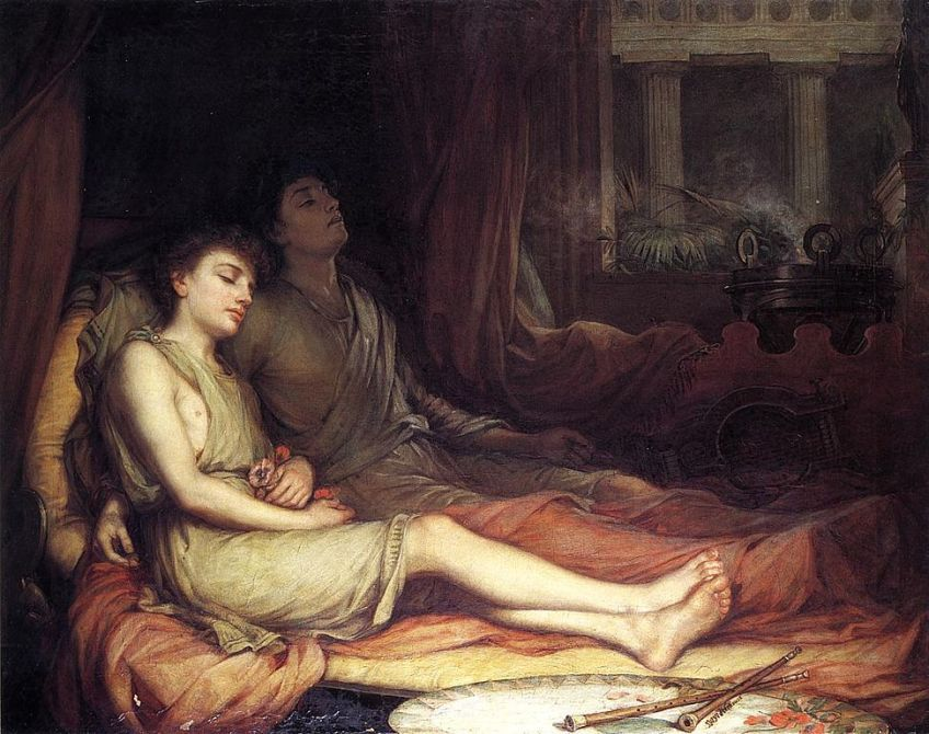 Hypnos en Thanatus - Slaap en zijn halfbroer dood - John Williams Waterhouse