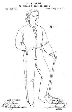 Patenttekening van de spijkerbroek van Jacob Davis