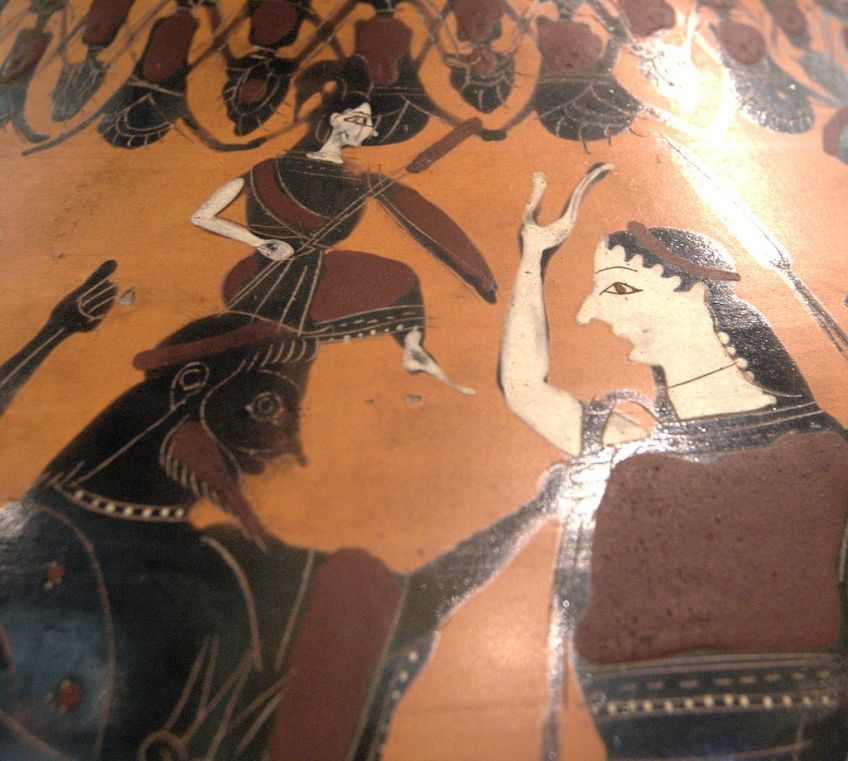 Een gewapende Athena wordt geboren uit het hoofd van Zeus (Attische zwartfigurige amphora, ca. 550-525 v.Chr., Louvre).