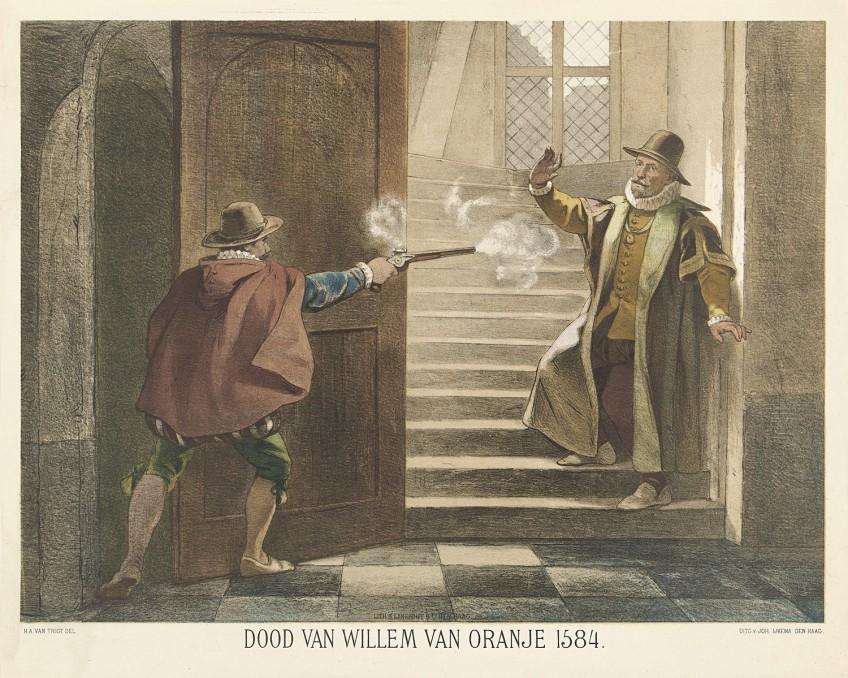 Balthasar Gerards schier Willem van Oranje neer, 1584
