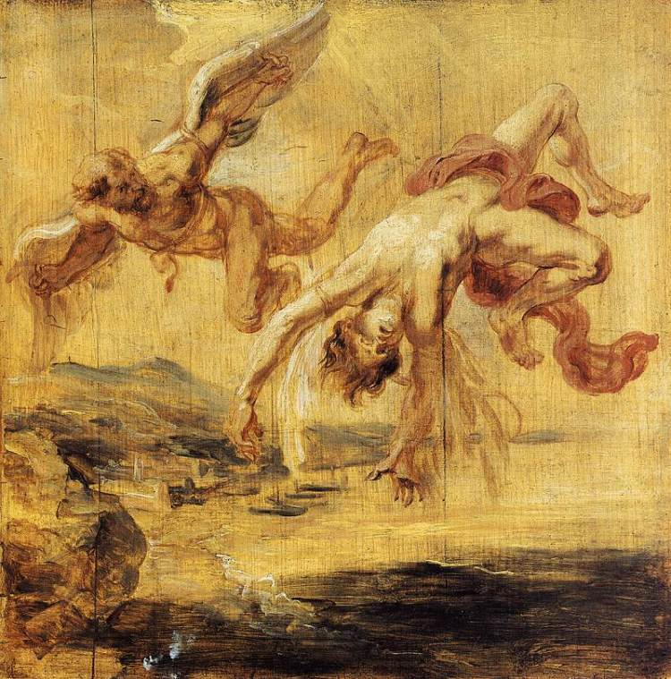 De val van Icarus, door Peter Paul Rubens