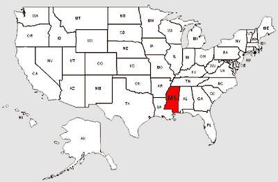 De staat Mississippi in het rood gemarkeerd