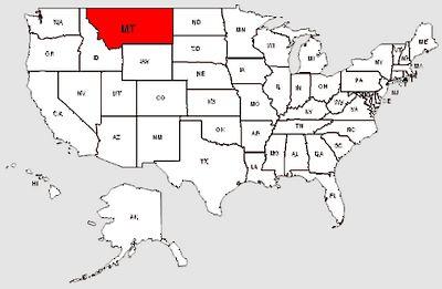 De staat Montana in het rood gemarkeerd