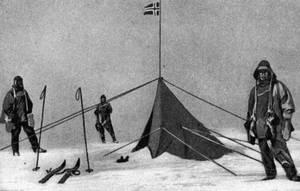 Kamp van Roald Amundsen en zijn team in de buurt van de noordpool