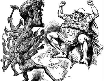 Afbeelding van Briareus die een mens aanvalt