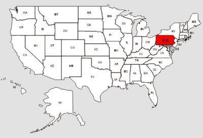 De staat Pennsylvania in het rood gemarkeerd