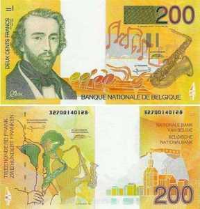 Bankbiljet met daarop een afbeelding van Adolphe Sax