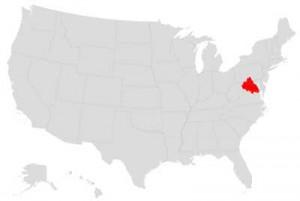 Het district of Colombia in het rood gemarkeerd