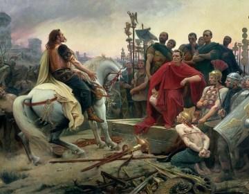 Overgave van Vercingetorix aan Julius Caesar. Schilderij van Lionel-Noël Royer uit 1899.