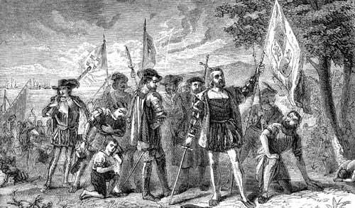 Columbus komt aan in San Salvador