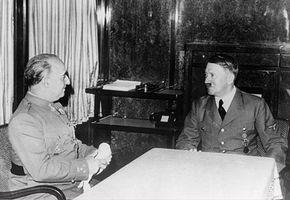 Franco en Hitler tijdens de ontmoeting in Hendaye