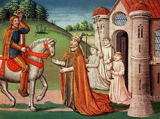 Middeleeuws schilderij van een onbekende schilder waarop Adrianus I te zien is die hulp vraagt aan Karel de Grote