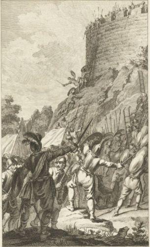 Willems troepen belegeren Ada in de burcht van Leiden. Reinier Vinkeles (1785).