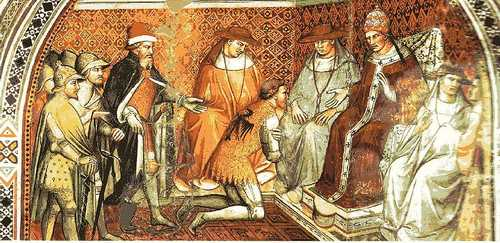 Keizer Frederik I erkent Alexander III als paus (Fresco van Spinello Aretino)