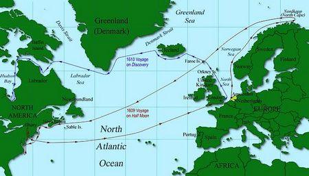 Kaart met daarop de reizen van Henry Hudson. In het rood zijn reis met de Halve Maein in 1609 en in het blauw zijn reis met de Discovery (Afbeelding: www.freewebs.com/blanchma)