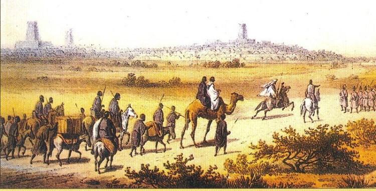 Heinrich Barth nadert Timboektoe in 1853 (Afbeelding uit: Reisen und Entdeckungen, dl 4)