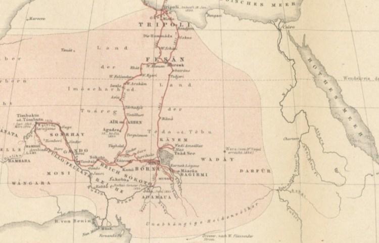 Heinrich Barth's route door Africa, 1850 tot 1855