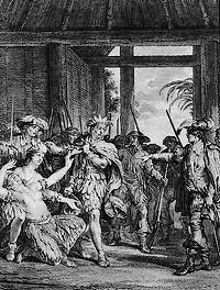 Gevangenname van Atahualpa (Pierre Duflos, ca. 1760)