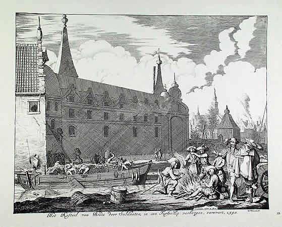Prent van Jan Luyken waarop het lossen van het schip aan de noordzijde van het kasteel in Breda te zien is