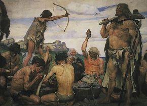 De Steentijd (Schilderij van Viktor Vasnetsov, circa 1882)