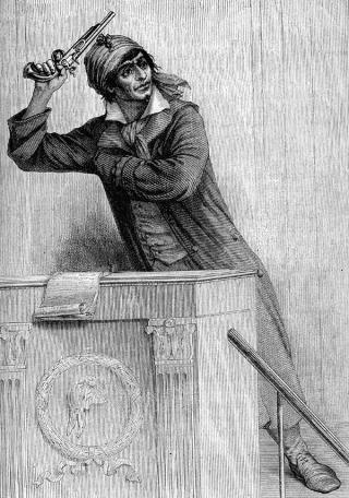 Marat dreigt een kogel door zijn hoofd te schieten