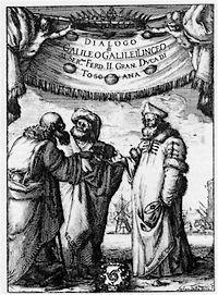 Voorzijde van Galileï's werk dialogo