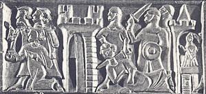 Afbeelding van de Brugse Metten op de Kist van Oxford